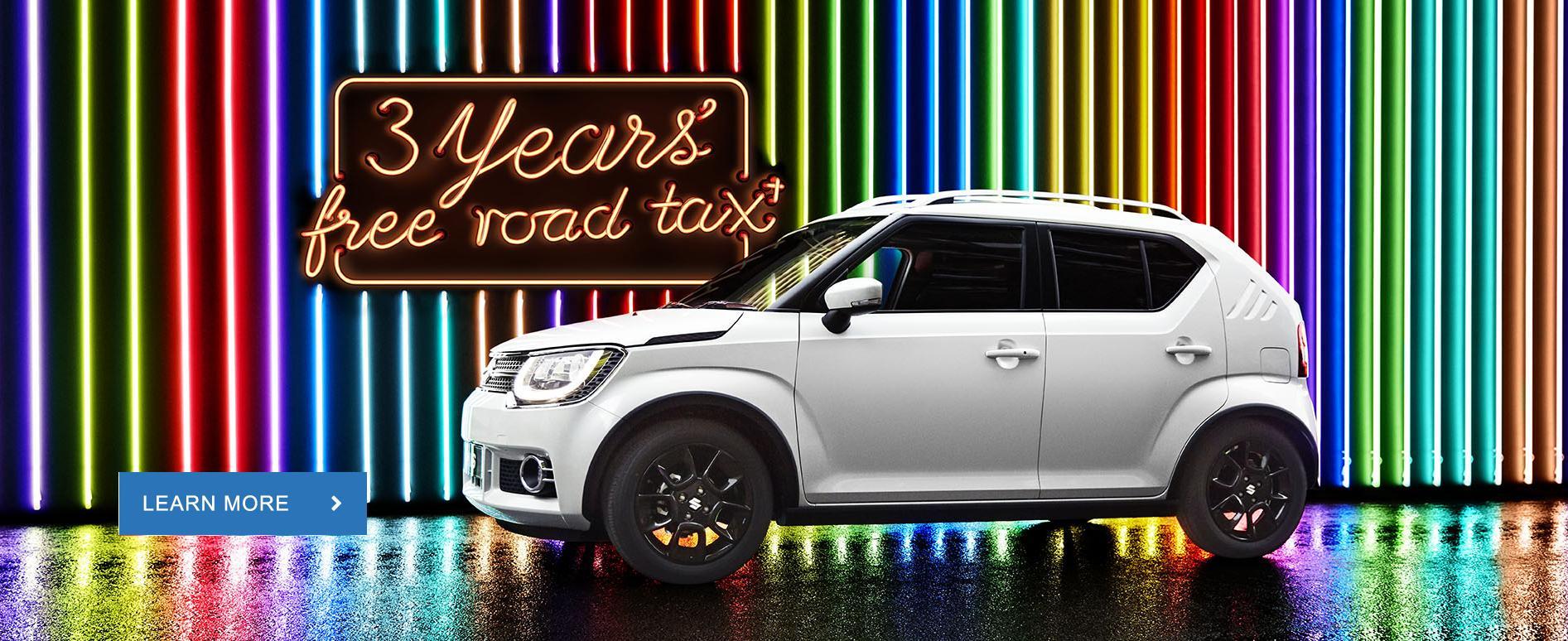 Ignis 3 yr free road tax