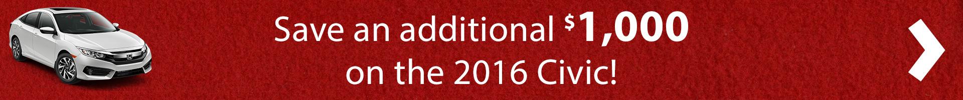 $1,000 Rebate of 2016 Civic