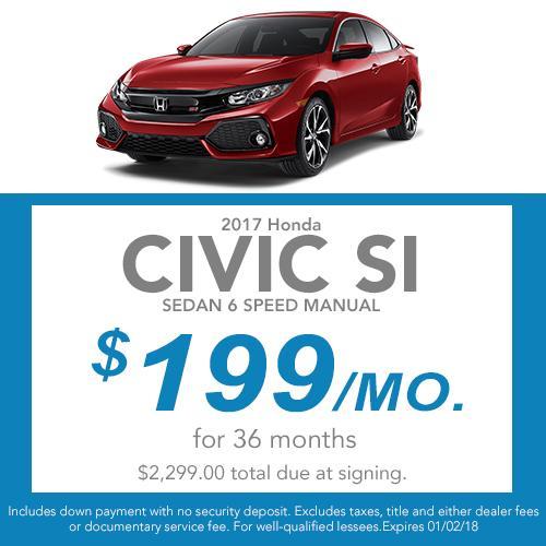 Civic Si Sedan Lease Offer