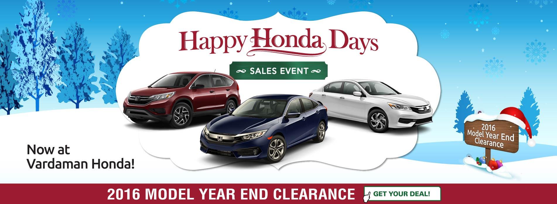 It's Happy Honda Days at Vardaman Honda