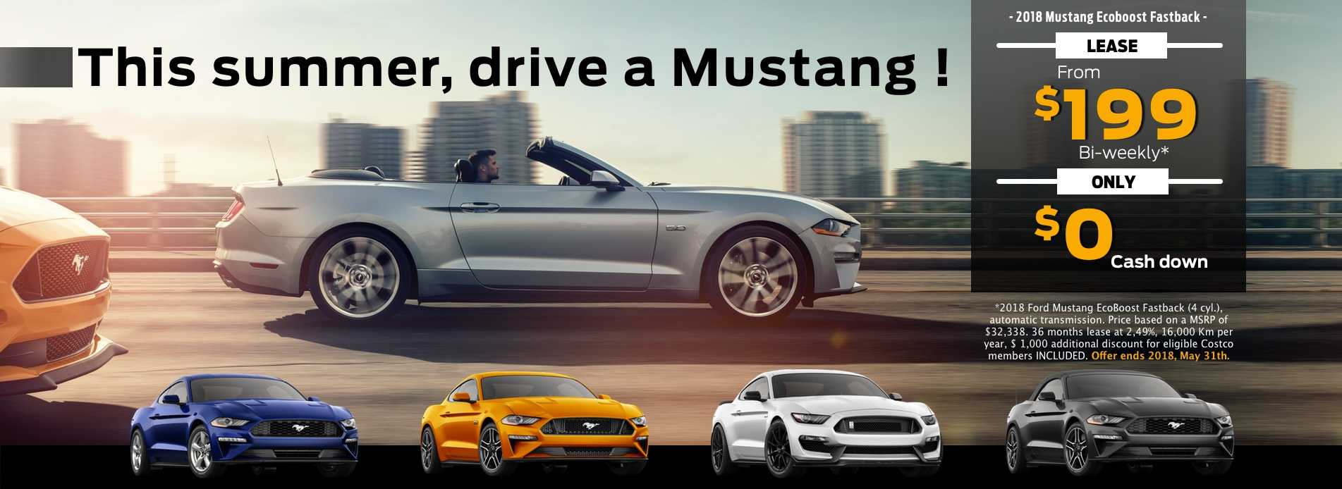 Drive a 2018 Mustang for only $199 bi-weekly