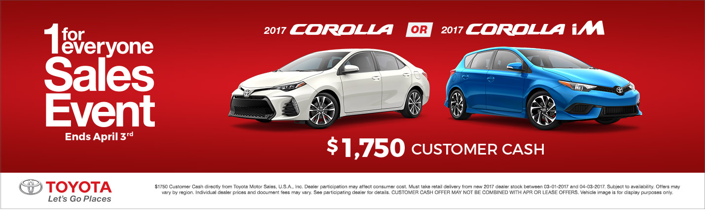 2017 Toyota Corolla Customer Cash Special