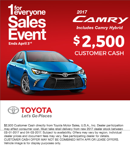 2017 Toyota Camry Customer Cash Special