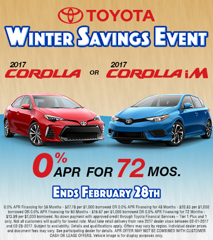 2017 Toyota Corolla Winter Savings Event APR Special