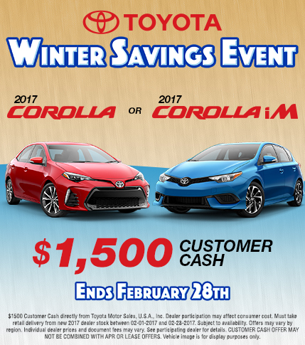 2017 Toyota Corolla Winter Savings Event Customer Cash Special