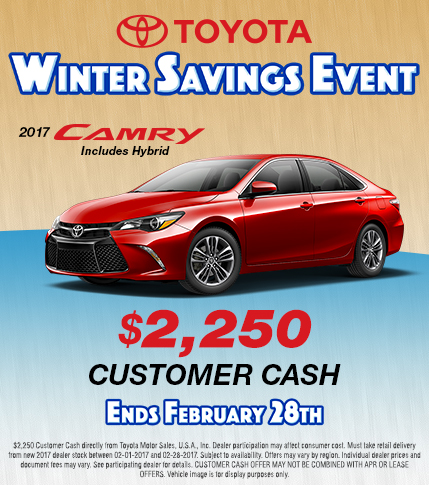 2017 Toyota Camry Winter Savings Event Customer Cash Special