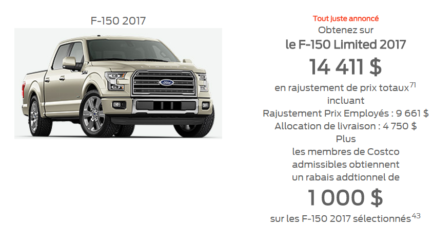 Promotion F-150 2017 Limited 14 411$