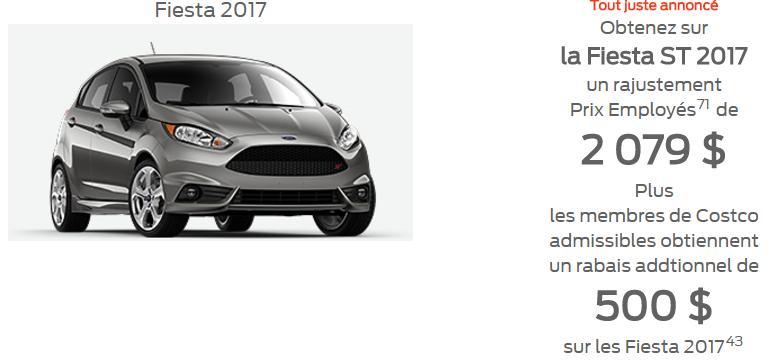 Fiesta ST 2017 promotion prix employé 2 079$