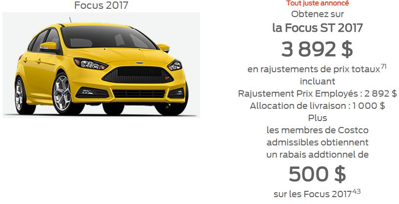 Focus 2017 promotion prix employé 3 892$