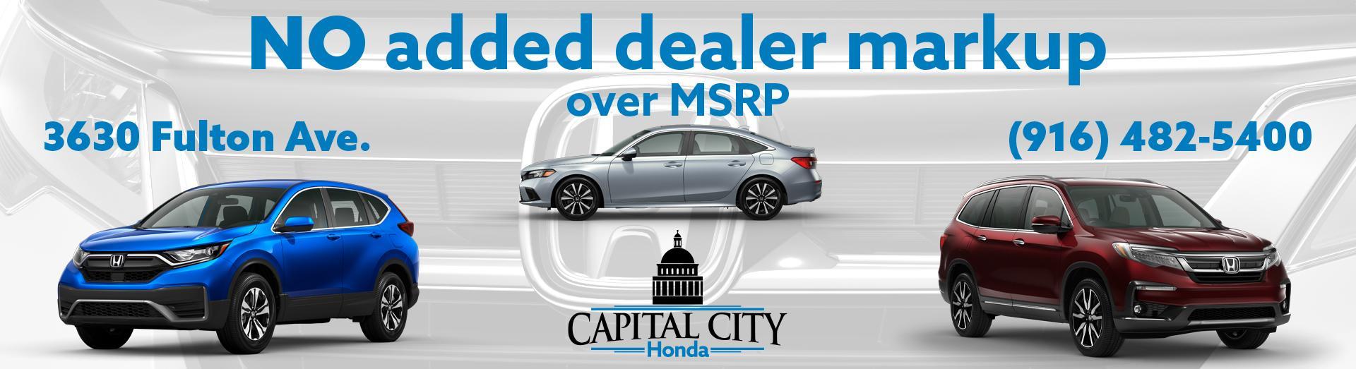 No Added Dealer Markup at Capital City Honda