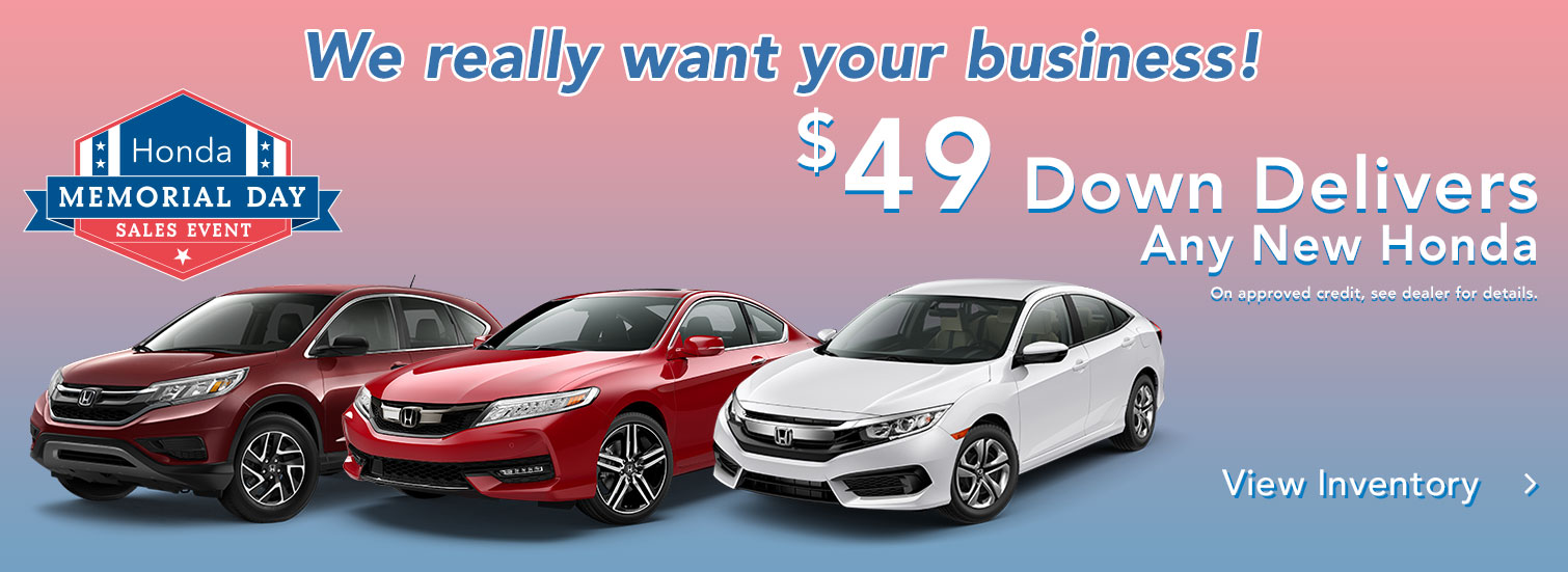 $49 Down Delivers Any New Honda