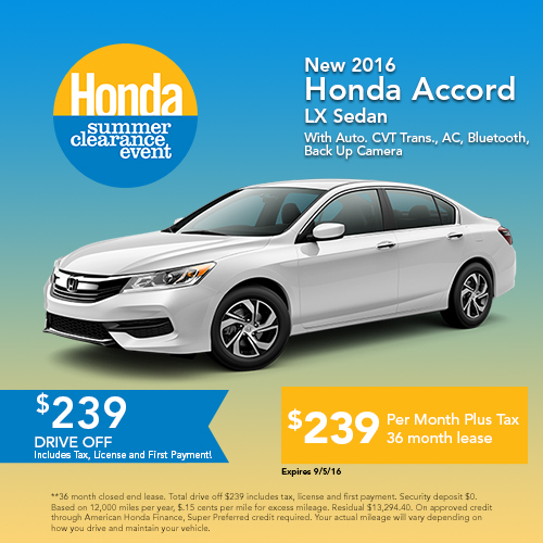 New 2016 Honda Accord LX Sedan Sale