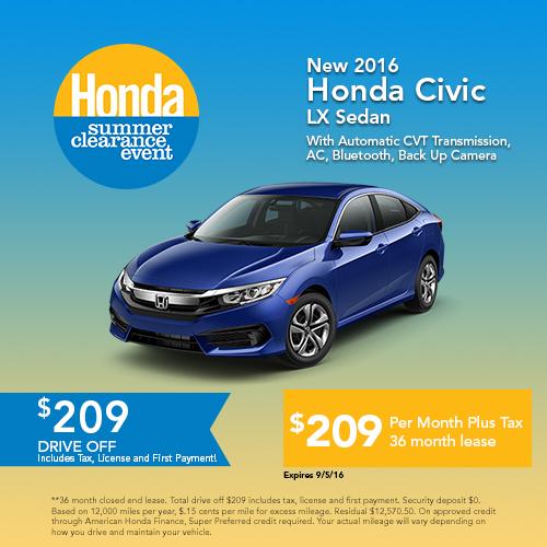 New 2016 Honda Civic LX Sedan Sale