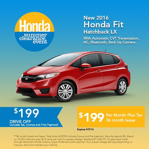 New 2016 Honda Fit Hatchback LX Sale