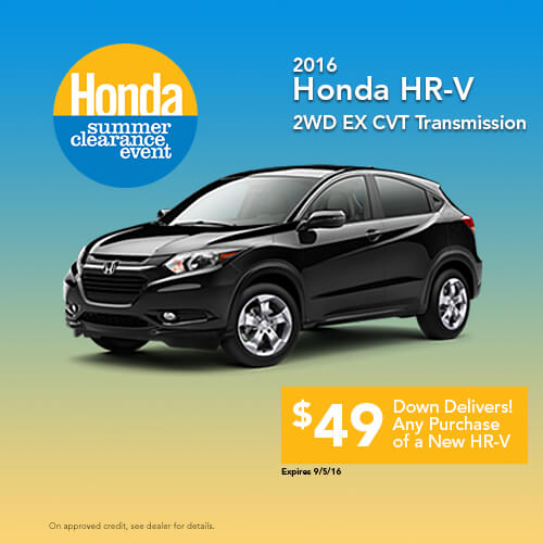 New 2016 Honda HR-V 2WD EX CV Transmission Sale
