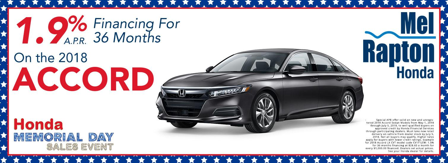 2018 Accord Finance Offer