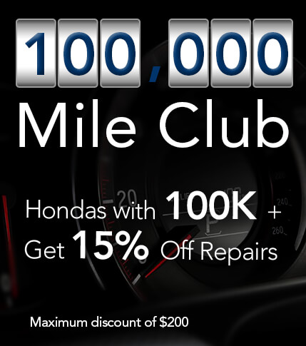 Hondas with 100K+ get 15% off repairs