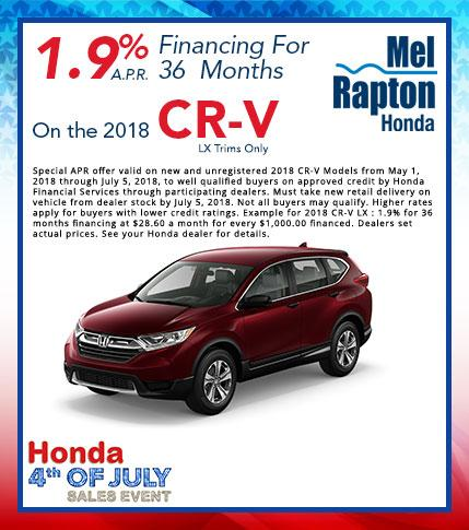 2018 CR-V LX July 4th Finance Offer