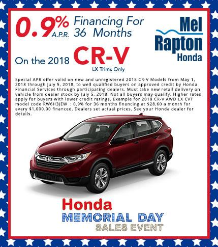 2018 CR-V Finance Offer