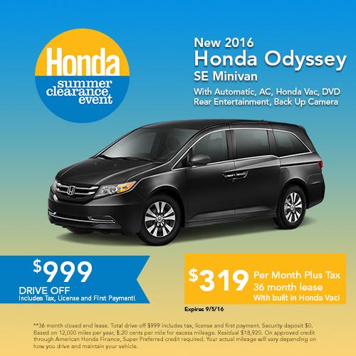 New 2016 Honda Odyssey SE Minivan Sale