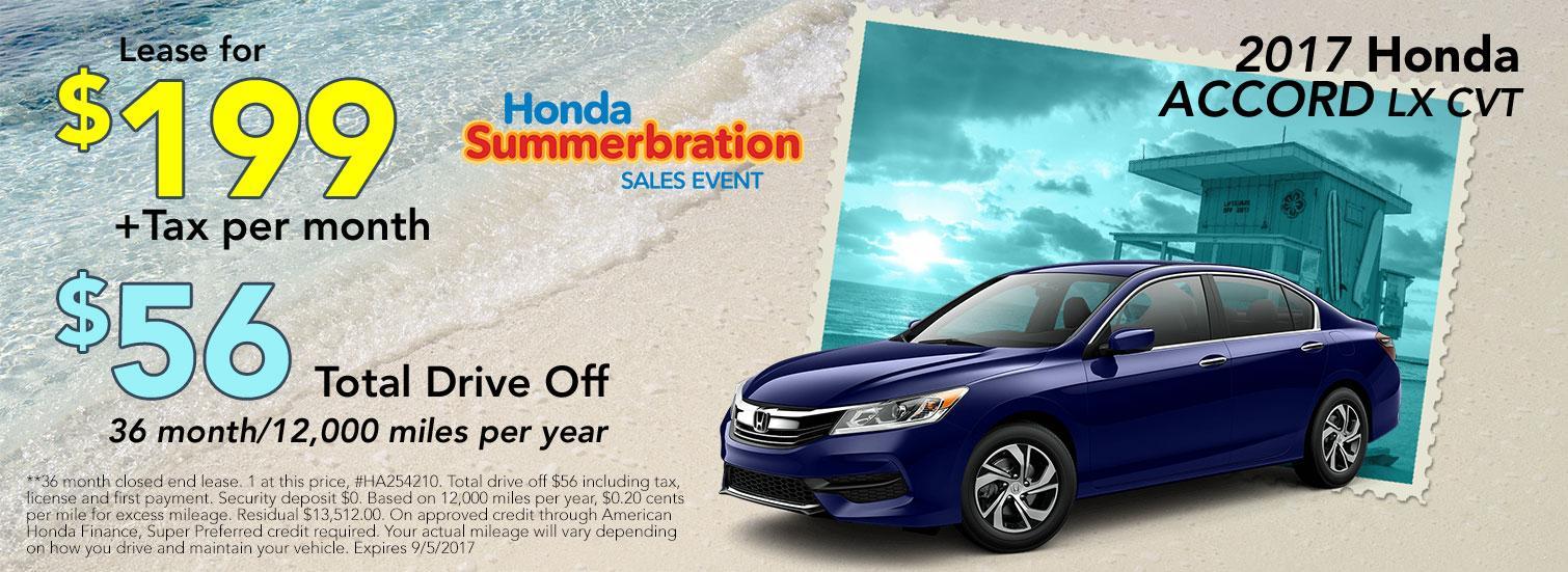 2017 Honda Accord LX CVT Lease Offer