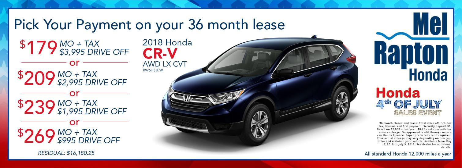 2018 CR-V July 4th Lease Offers