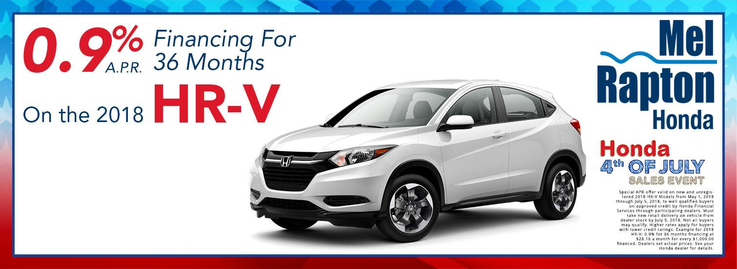 2018 HR-V July 4th Finance Offer