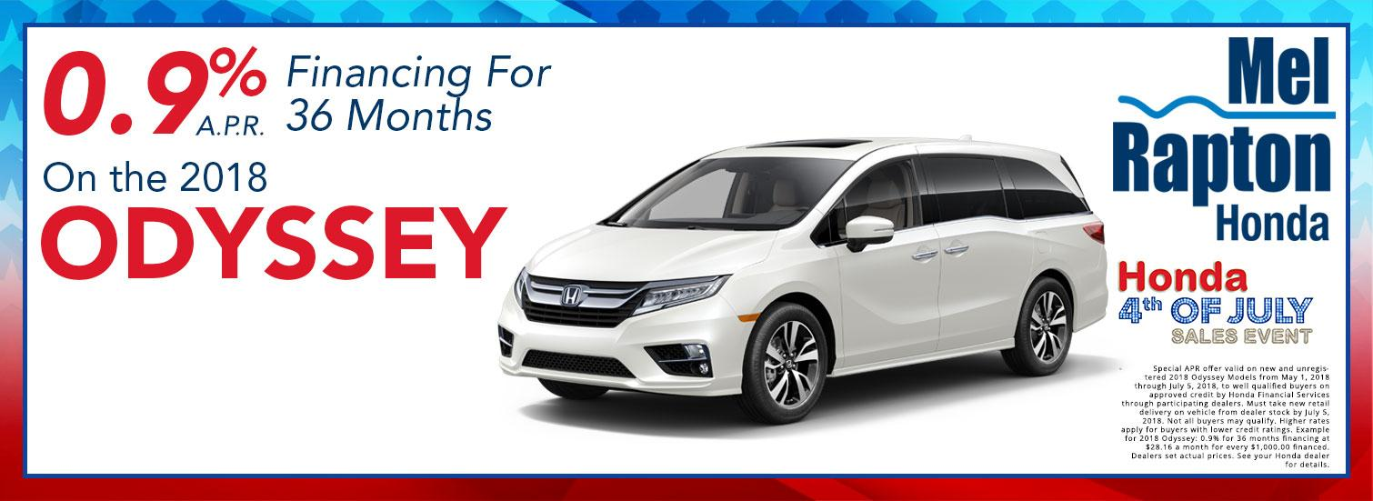 2018 Odyssey July 4th Finance Offer