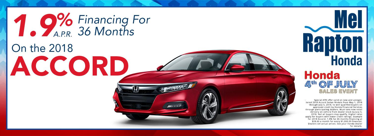 2018 Accord July 4th Finance Offer