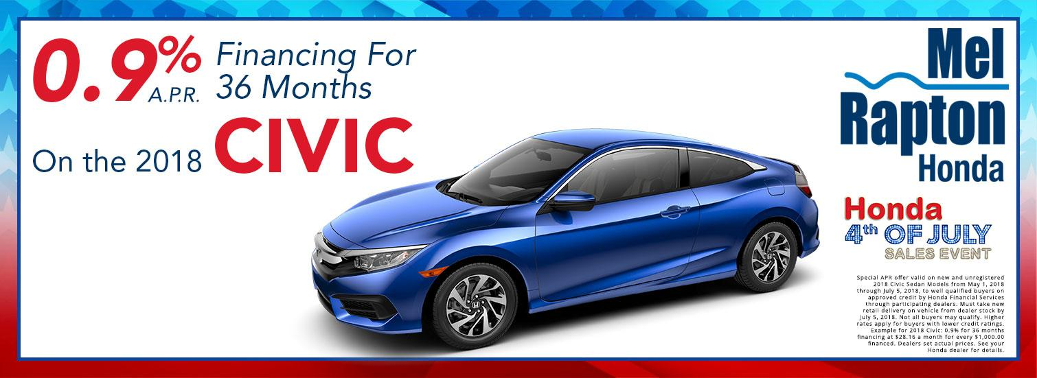 2018 Civic July 4th Finance Offer