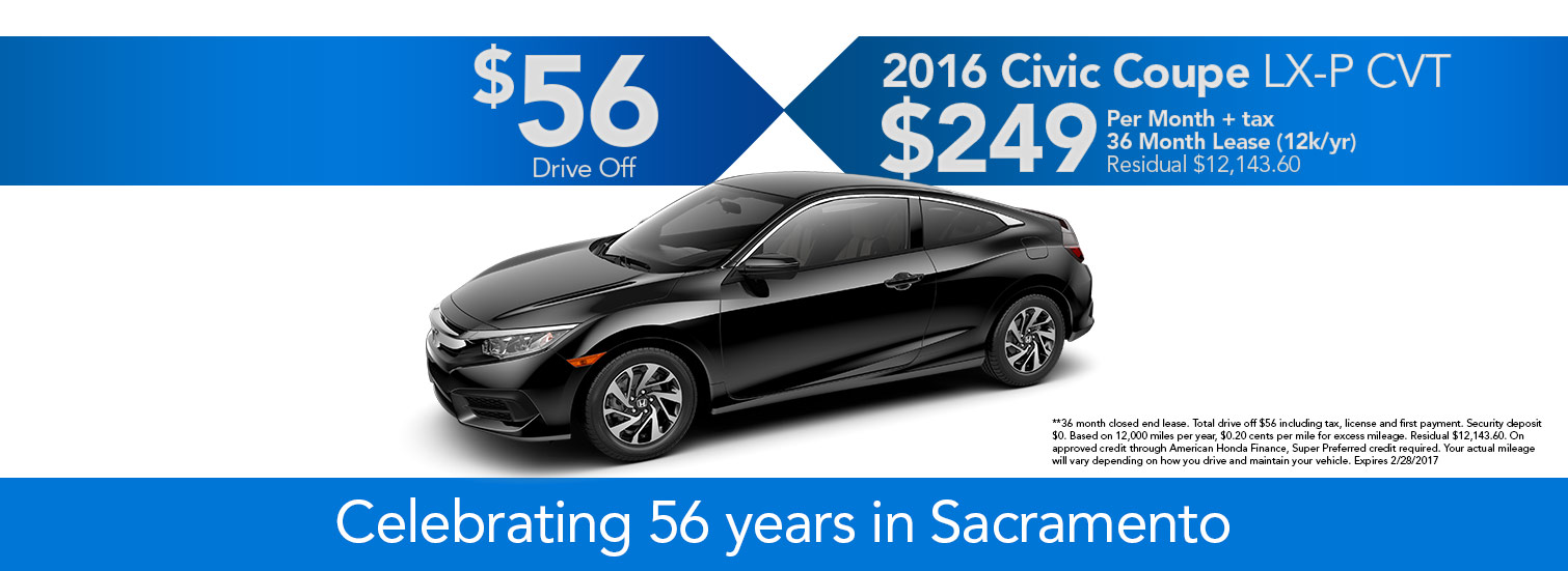 2016 Civic Coupe LX-P CVT Lease Offer