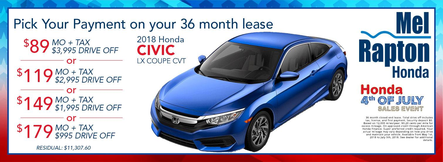 2018 Civic July 4th Lease Offers