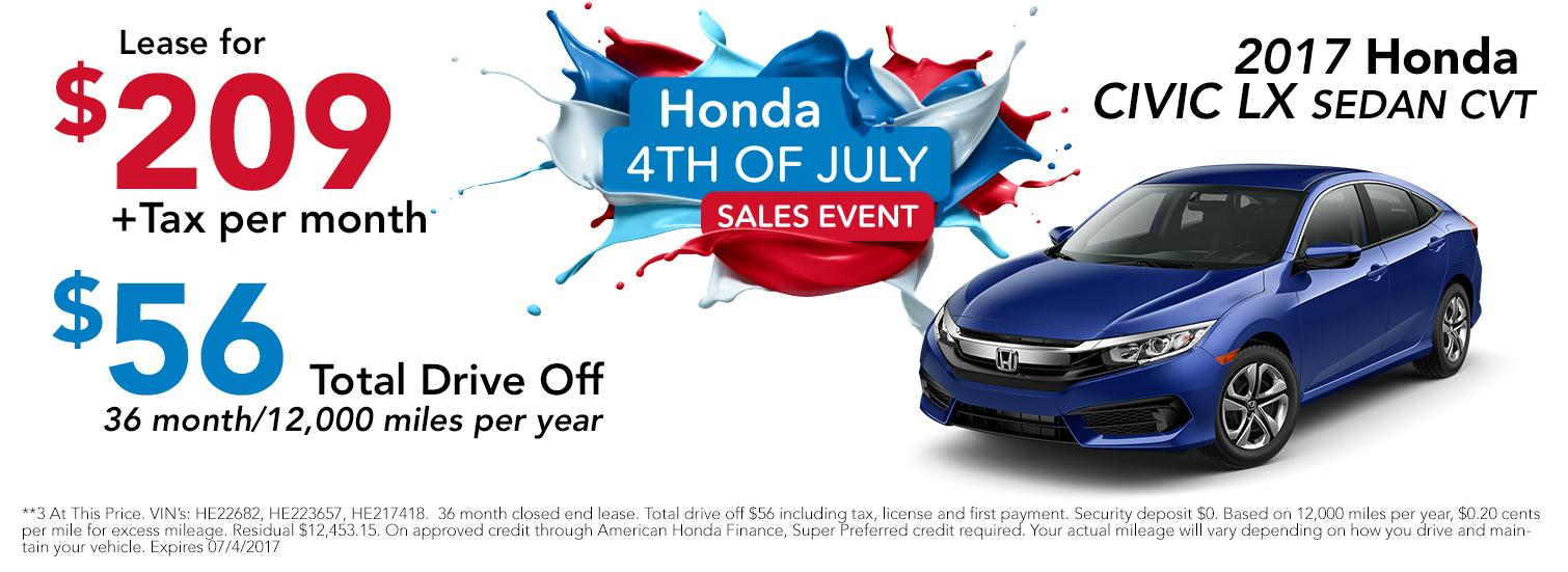 2017 Honda Civic 4th of July Sales Event