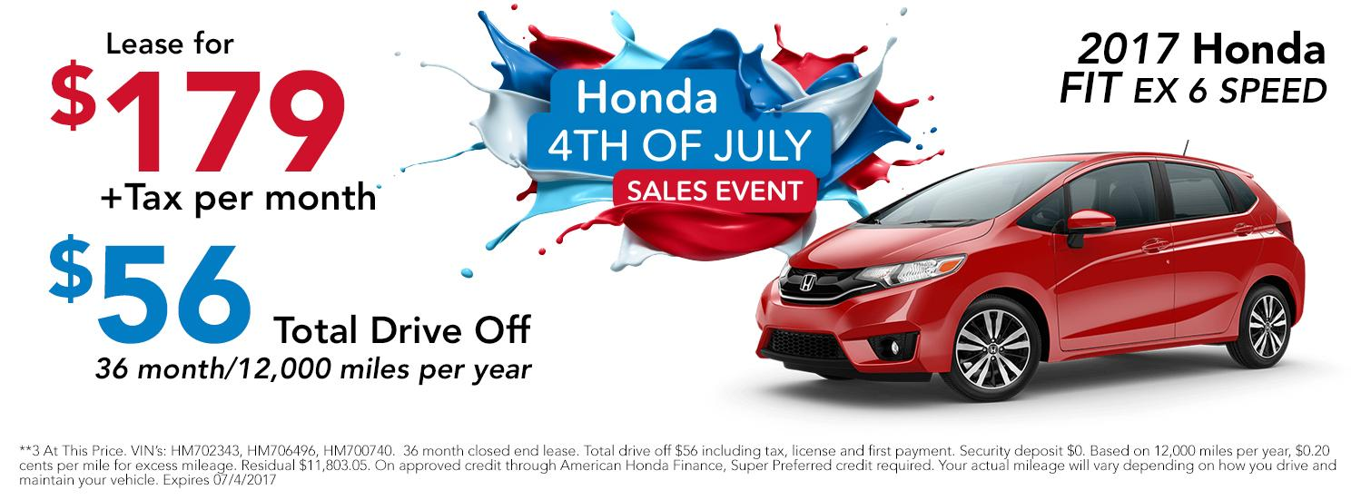 2017 Honda Fit 4th of July Sales Event