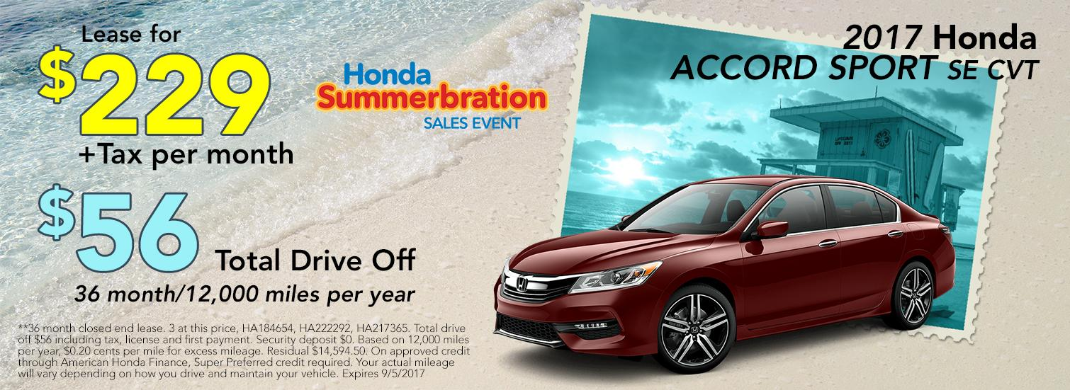 2017 Honda Accord Sport SE CVT Lease Offer