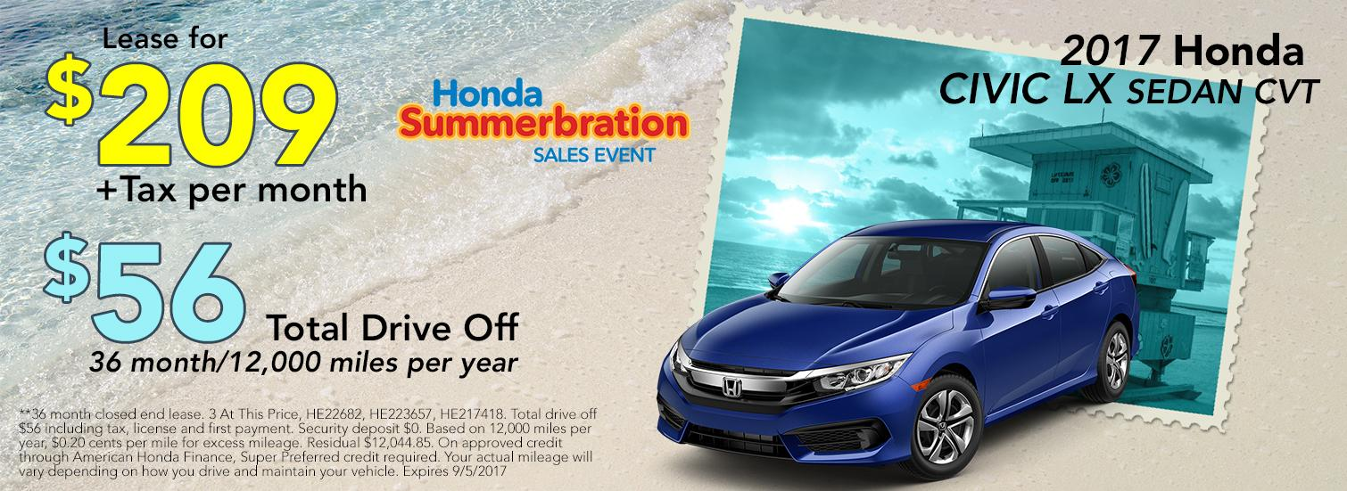 2017 Honda Civic LX Sedan CVT Lease Special