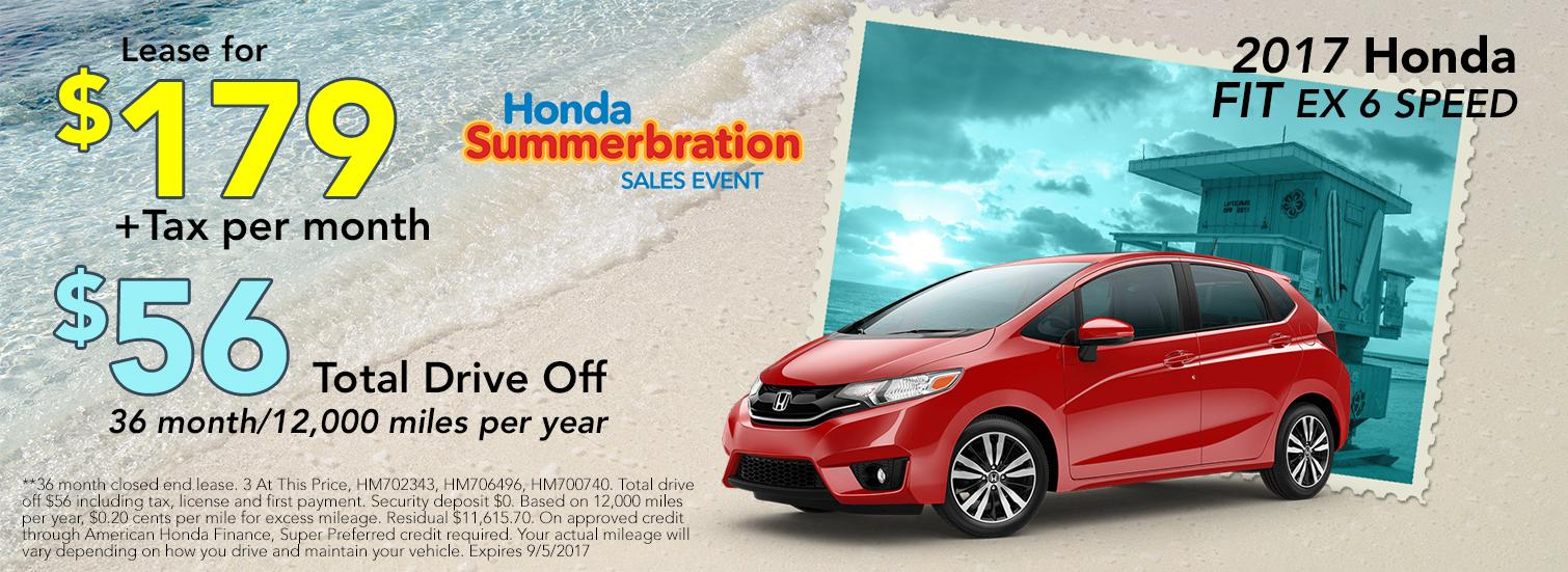 2017 Honda Fit EX 6 Speed Lease Special