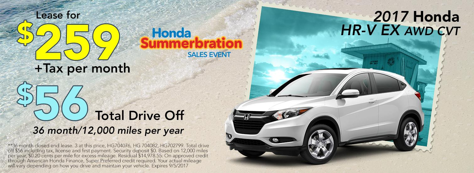 2017 Honda HR-V EX AWD CVT Lease Offer