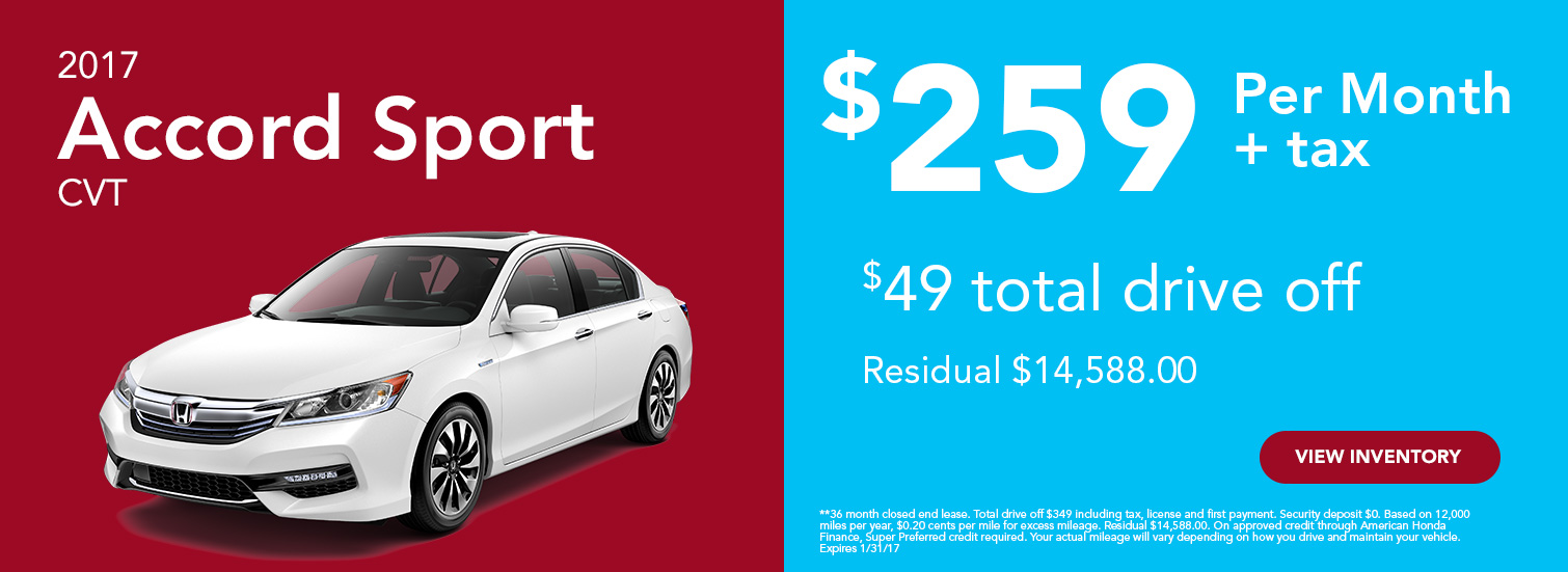2017 Accord Sport Lease Special