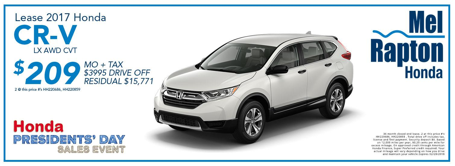 2017 CR-V President's Day Offer
