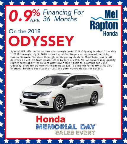 2018 Odyssey APR Offer