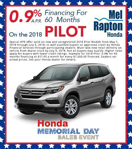 2018 Pilot Finance Offer