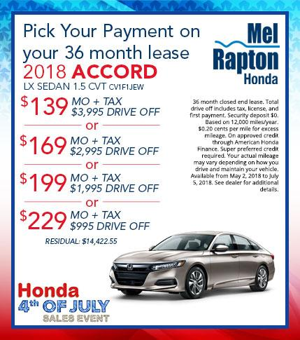 2018 Accord July 4th Lease Offers