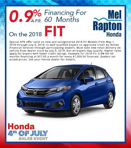 2018 Fit July 4th Finance Offer