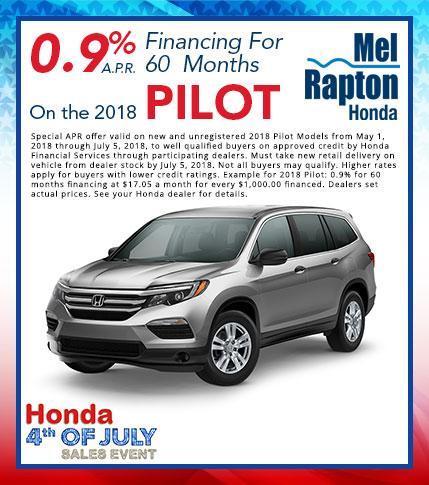 2018 Pilot July 4th Finance Offer
