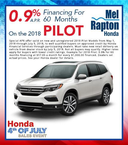 2018 Pilot July 4th Finance Offer