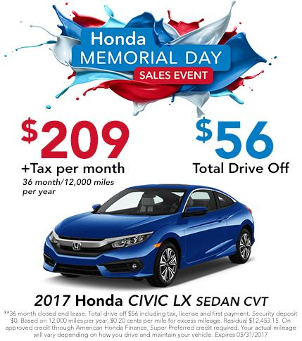 2017 Civic LX Sedan CVT Lease Offer