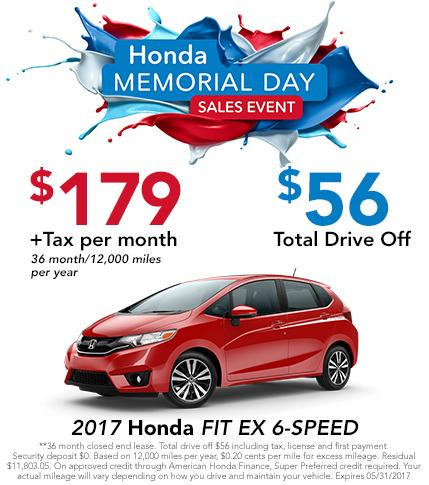 2017 Fit EX 6 Speed Lease Offer
