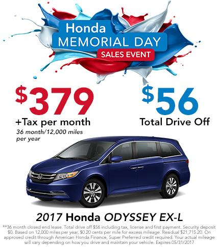 2017 Odyssey EX-L Lease Offer