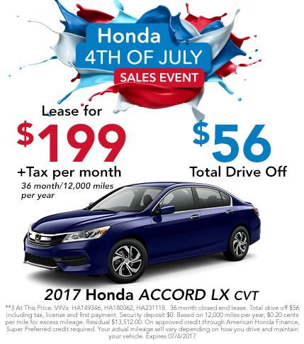 2017 Honda Accord 4th of July Sales Event